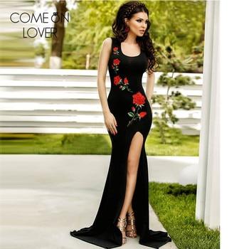 d4d8a3676d38 Longo vestido de festa Rosa bordado vestido sin mangas de verano maxi split  vestidos sexy negro longitud del piso VL1066