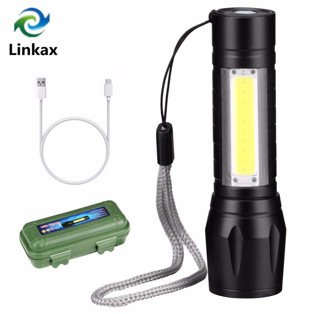 Upgrade Newest Design USB Charging Powerful Flashlight 3800LM XPE COB LED Flash Light Zoomable Tactical Torch Lamp+Battery+Box