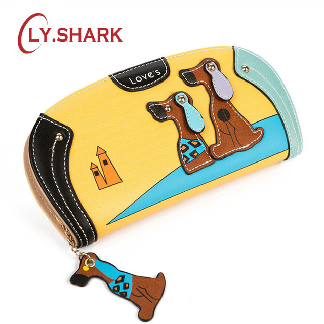 LY.SHARK Rajzfilm kutya nők pénztárca táska tervező pénztárca híres márka női pénztárca hosszú pénz klip dollár ár cipzár érme zsebek