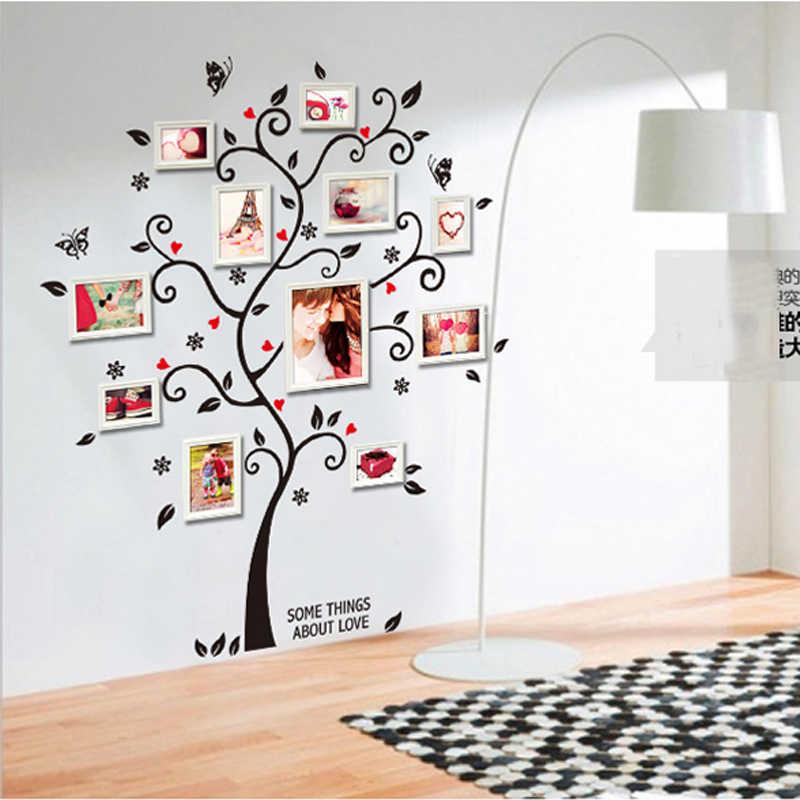 Креативный ПВХ счастливая рамка для фото в виде дерева стены бабочки наклейки на стену домашний декор спальня гостиная ТВ стикеры Настенные бумаги