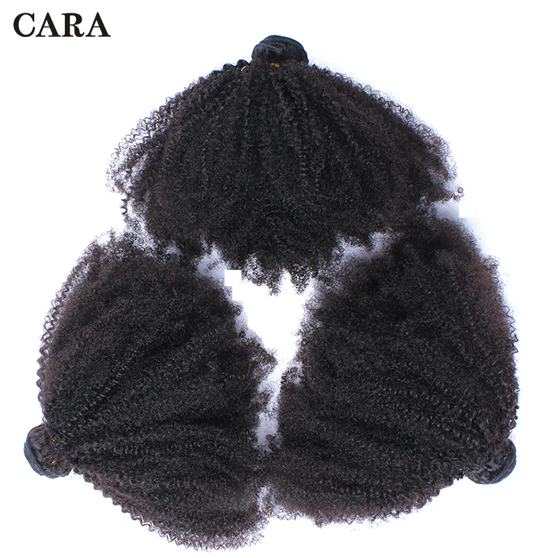 Mongolian Afro Kinky Curly Hair Weave Extensions 4B 4C 100% Natural Remy Human Hair Bundles 3 Pcs CARA Hair Products