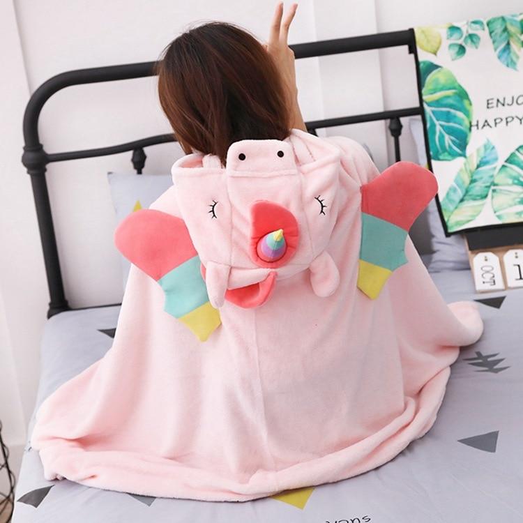 God beast unicorn Cute Hoodie Cat Hooded Blanket Fleece Wearable Throw Blanket Microfiber on Sofa warm B206