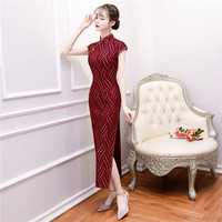 Red Vintage Satin Qipao Summer Lady Traditional Chinese Style Cheongsam Dresses Short Sleeve Long Qipao Wedding Dress Plus Size