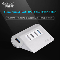 ORICO Aluminum 4 Ports USB 2 0 3 0 HUB High Speed Mini Splitter Portable Hub
