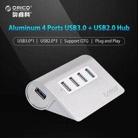 ORICO 알루미늄 4 포트 USB 2.0 3.0 허브 고속 미니 스플리터 휴대용 허브 노트북 PC 컴퓨터 1 메터 데이터