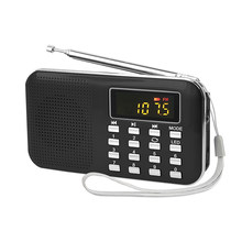 Portable Mini LCD Screen Digital FM Radio with LED Light Stereo Speaker USB TF Card MP3 Music Player with Rechargeable Battery(China)