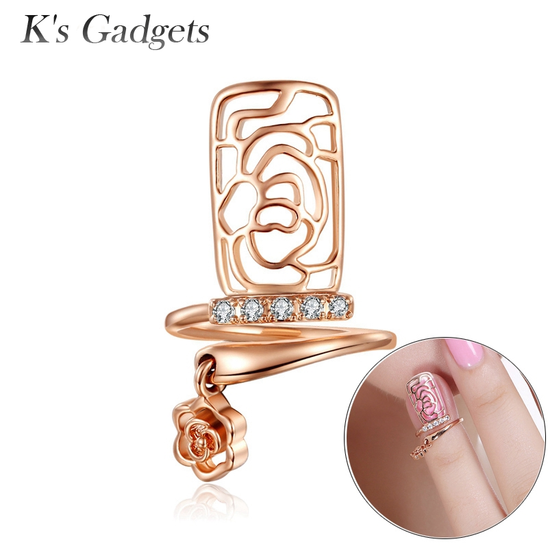 Classical Flower Nail Ring Rose Gold Silvercolor Open work Design Ideas knuckle Cubic Zi ...