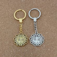10pcs Keychain Flower Saint Benedict Exorcism Medal Catholic Cross Key Ring Travel Protection 33mm Pendant Antique Silver/gold
