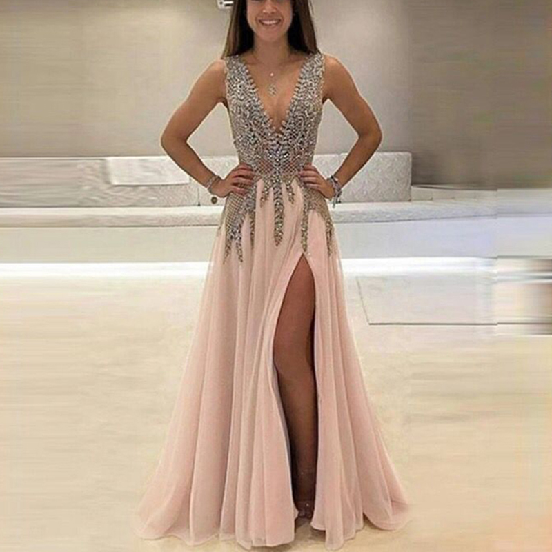 robe de soiree 2018 Sexy Evening Dresses Long A-Line V Neck Beaded Crystal High Slit Backless Women Formal Prom Evening Gown