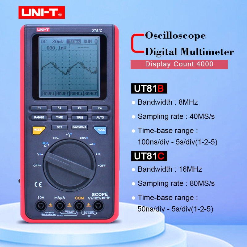 UNI-T UT81C/UT81B Real-Time Sample Rate Handheld Oscilloscope Digital Multimeter AC DC Resistance Capacitance Frequency Meter