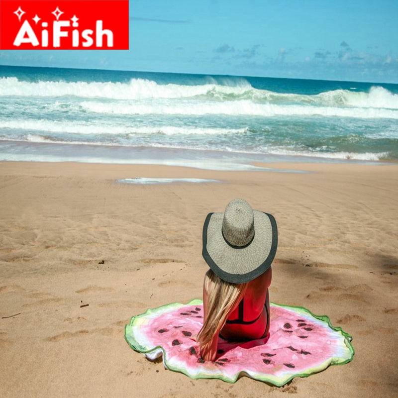 150CM Creative Fruit Watermelon Round Beach Towel Sunscreen Shawl Outdoor Travel Cushion for Adults Swimming Sunbath FM011-40