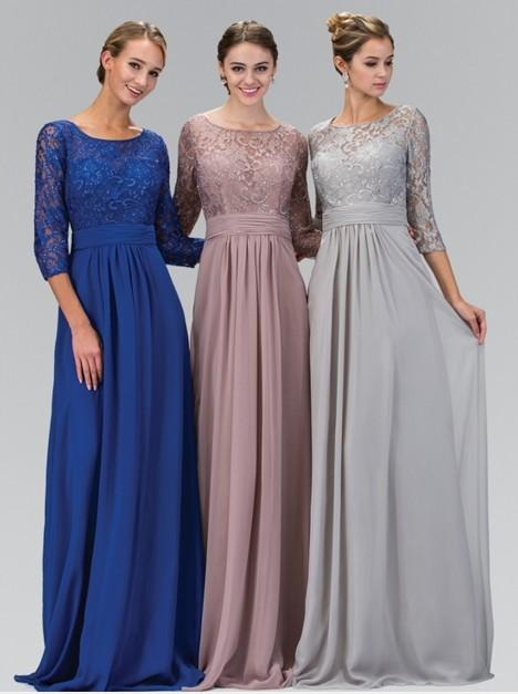 2016 Long A Line Silver Gray Modest Chiffon Lace Bridesmaid Dresses With 3 4