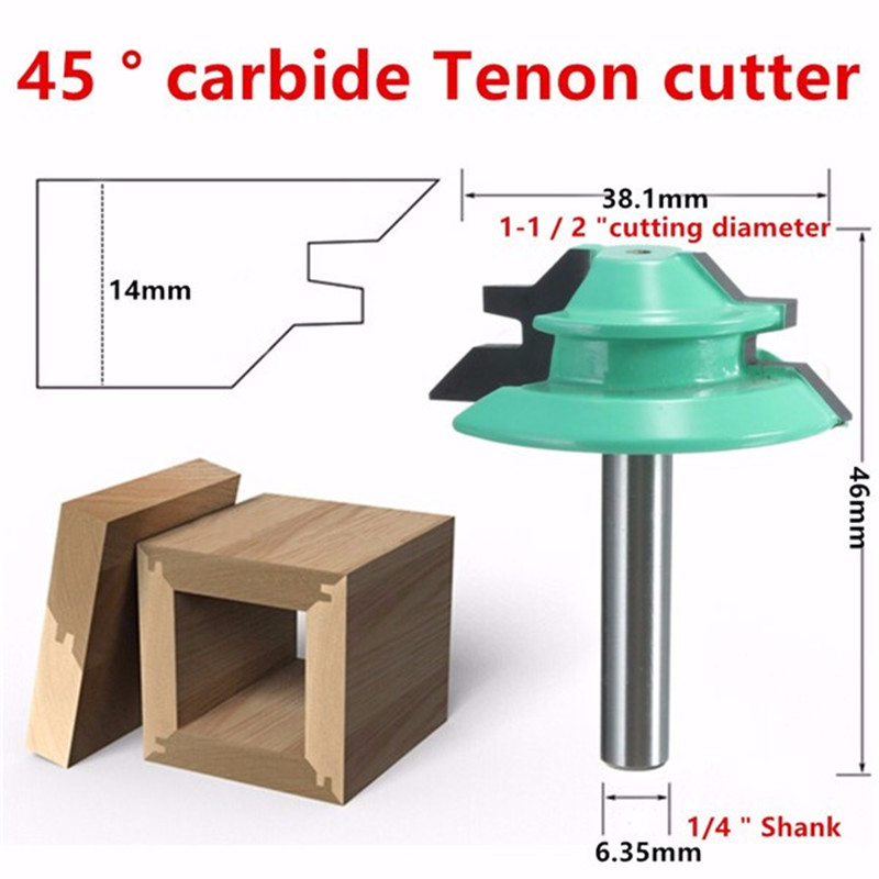 New 1PC  1/4 Shank Lock Miter Router Bit 45 Degree Woodworking Cutter 1-1/2 Diameter For Capenter Tools Drilling Power Tools 1 2 shank 2 1 4 diameter bottom cleaning router bit mayitr high precision woodworking milling cutter cutting tools for mdf