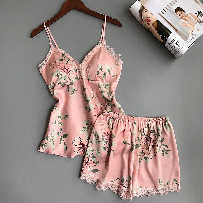pajamas   for women Sleep Lounge   Pajama     Set   Sexy Satin Sleepwear Summer Pyjama Femme Fashion Flower with Chest Pad home suit