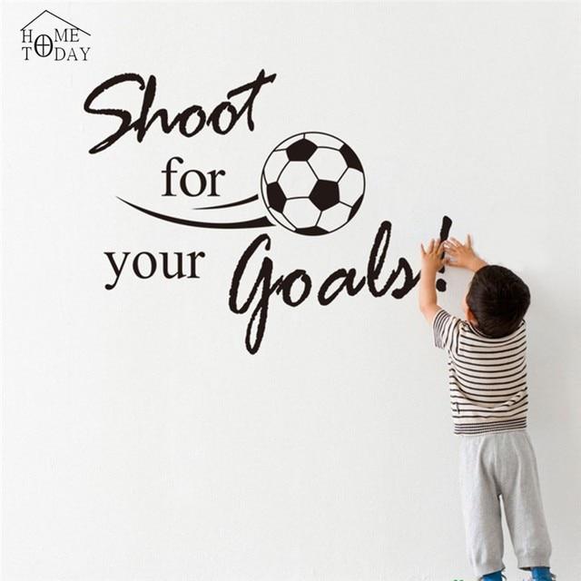 Bola de futebol adesivos de parede Cita Decalque Da Parede de Futebol Preto-branco  Decoração 513c16bf035d8