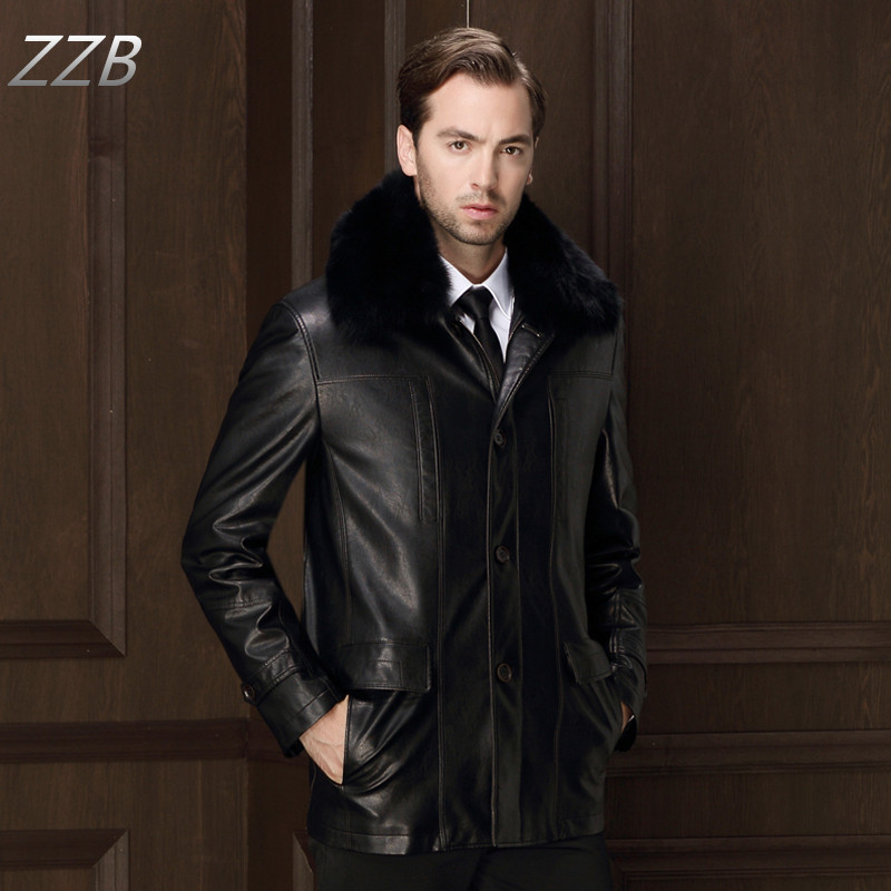 2017 Winter Mens Leather Fur Coat Fur Collar lining mid-long Outer wear Business coats for Men Casaco de couro Z3072