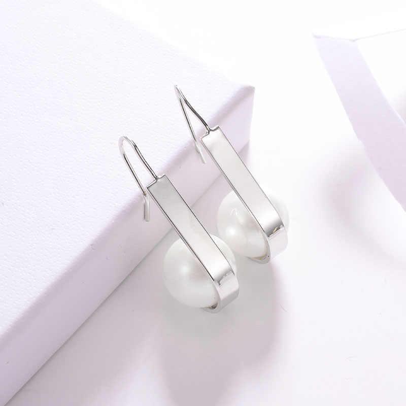 ไข่มุกจำลองต่างหู Long DROP สำหรับผู้หญิงทองเงินทองแดงหญิง Dangle แขวนต่างหูแฟชั่นเครื่องประดับหู Brincos