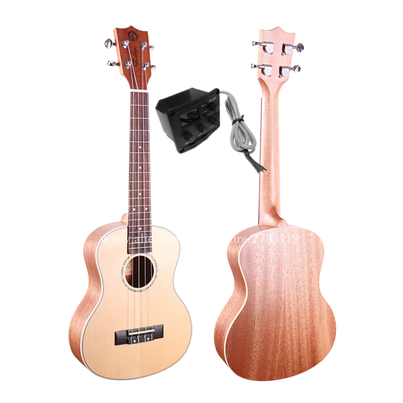 Finlay 27 Tenor Ukelele Instrument With Solid Spruce Top/Mahogany Body,Electric Acoustic ukelele With LCD Pickup