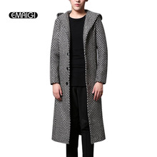 Autumn winter mens trench jacket fashion casual woolen warm hooded trench coat street slim fit men long thick coat KF93