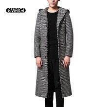 Herbst winter herren trench jacke mode lässig woolen warm mit kapuze trenchcoat street slim fit männer lange dicken mantel KF93