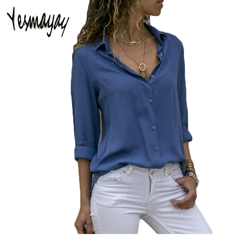 Autumn Blouse Women Solid Womens Tops And Blouses Big Sizes Plus Size 2018 Chiffon Blouse Long Sleeve Work Wear Office Blouse