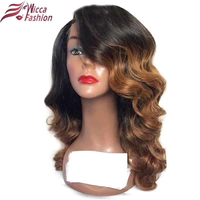 Wicca mode Ombre 1b / 30 Warna Lace Depan Rambut Manusia Wig dengan - Rambut manusia (untuk hitam)