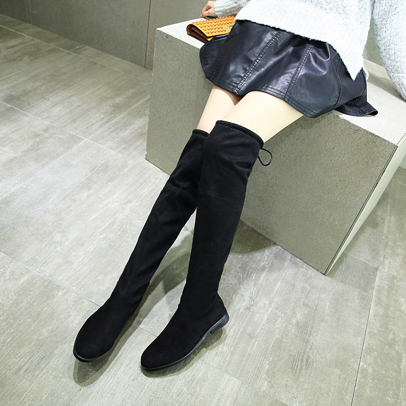 25324553ddf6 Autumn Winter Fashion Over Knee Boots Womens Pointed Toe Flock Square Heel  Boots Flat Heel Gilr Boots Look Silm Sexy Shoes -in Over-the-Knee Boots  from ...