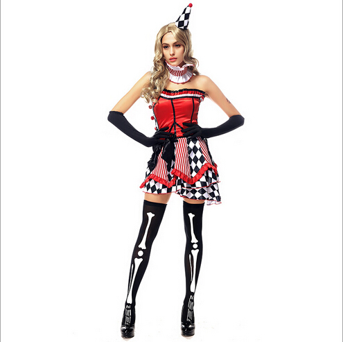 free shipping 2017 new womans halloween costumes circus cosplay circus woman clown costumes actress - Girl Clown Halloween Costumes