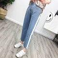 Mulheres Verão 2017 Ocasional Formal de Cintura Alta Laterais em Contraste Listrado calças de Brim Azul Jeans Reta calças de Pernas Largas calças de Brim Emendados Calças pantalon