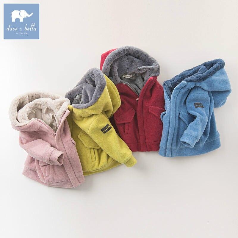 Db5975 Dave Bella осень для малышей унисекс для мальчиков пальто для девочек модная одежда для малышей теплые пальто с капюшоном дети Высокое качес...