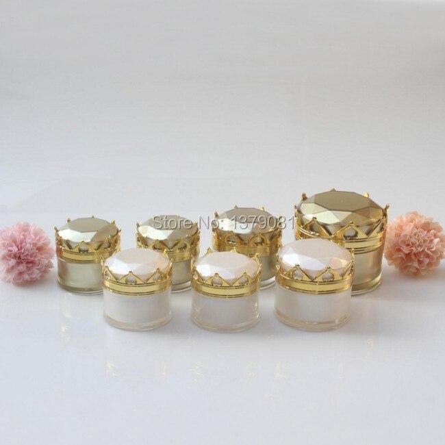 High Quality 10g 15g 20g 50g Acrylic Cream Jar Gold White Sample Tins Crown Shape Empty