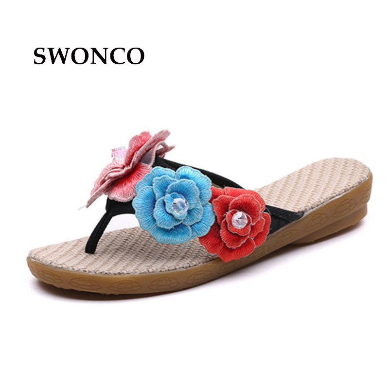 SWONCO Women's Slippers Shoes Women 2018 Embroidery Beach Ladies Shoes Slippers Woman Summer Sandals Flip Flop Female Shoe swonco women s slippers half shoes candy color breathable female slipper 2018 woman slippers summer sandals ladies beach shoes