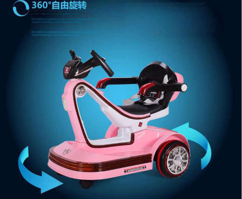 เพลง LED เด็กไฟฟ้ายานพาหนะรีโมทคอนโทรลสกู๊ตเตอร์รถกันชนหมุนเด็กไฟฟ้ารถสำหรับเด็กขี่ของเล่น