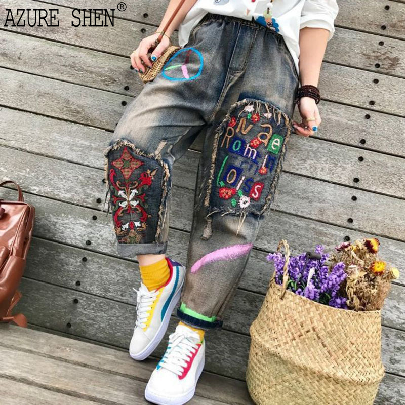 [EWQ] New Summer Spring 2018 fashion tide loose Vintage literary alphabet pattern embroidered jeans women all match QC553