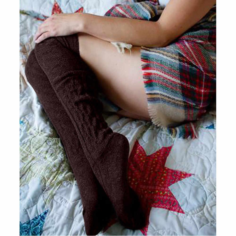 2019 Winter Warm Halten Mädchen Baumwolle Frauen Oberschenkel Hohe Knie Hohe Socken Lange Baumwolle Sexy Damen Strumpf medias de mujer heiße Verkäufe