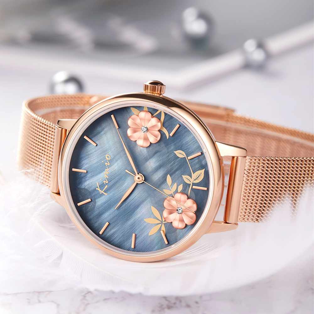KIMIO 3D Float Flower Natural Pearl Shell Rose Gold Watch Women Stainless Steel Luxury Brand Girls Watches Womans Watch Ladies