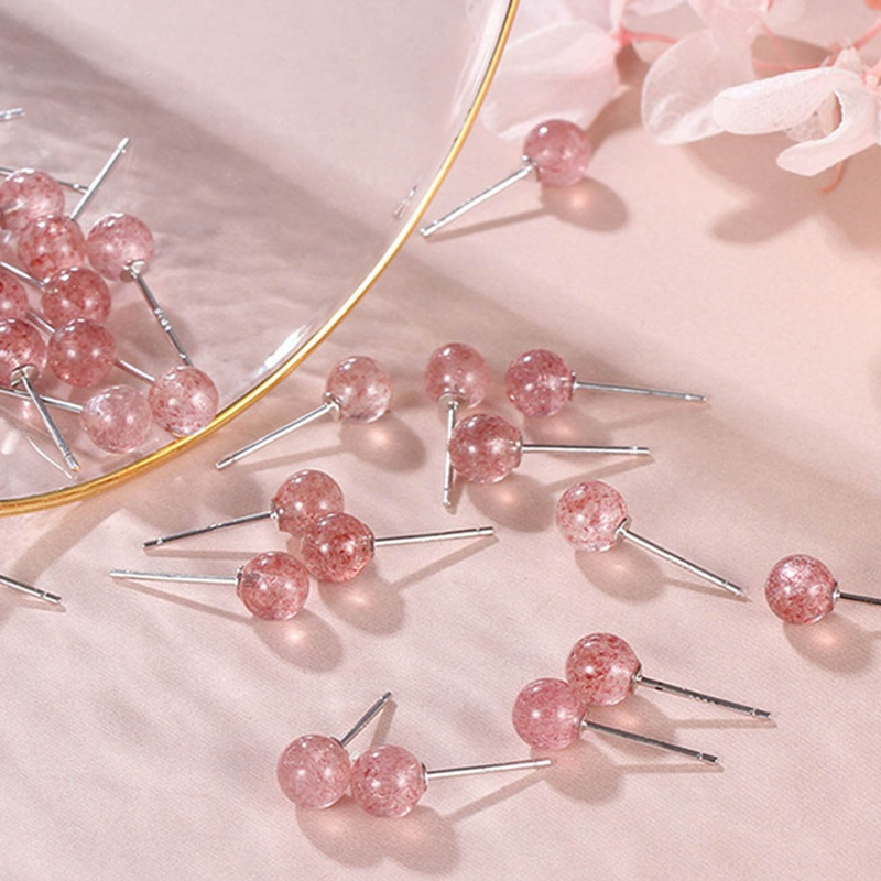 Pink 6mm/8mm Strawberry Crystal Stud Earrings For Wife Best Friend Gift Fashion Party Birthday Presents