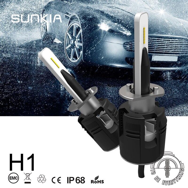 SUNKIA B6 LED Headlight CSP Chip H1 H3 H4 H7 9005 9006 H13 880 881 H8 H9 H11 H13 9012 6000K 48W IP68 Car LED Bulbs
