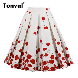 Image 3 - Tonval High Waist Floral Pleated Skirts Womens Summer Red Rose Flower Women Vintage Skirt Midi Plus Size 4XL Skirts