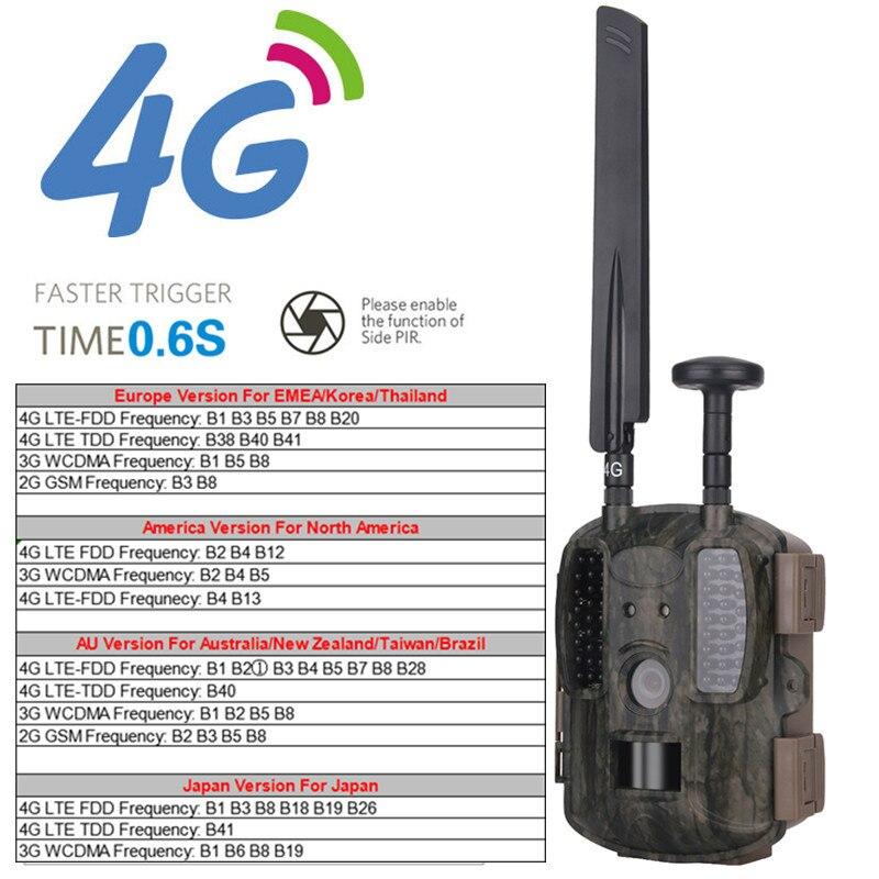 4G chasse caméra Photo piège Scouting faune chasseur caméra jeu chasse avec FDD GSM WCDMA GPS FTP Vision nocturne chasseur caméra