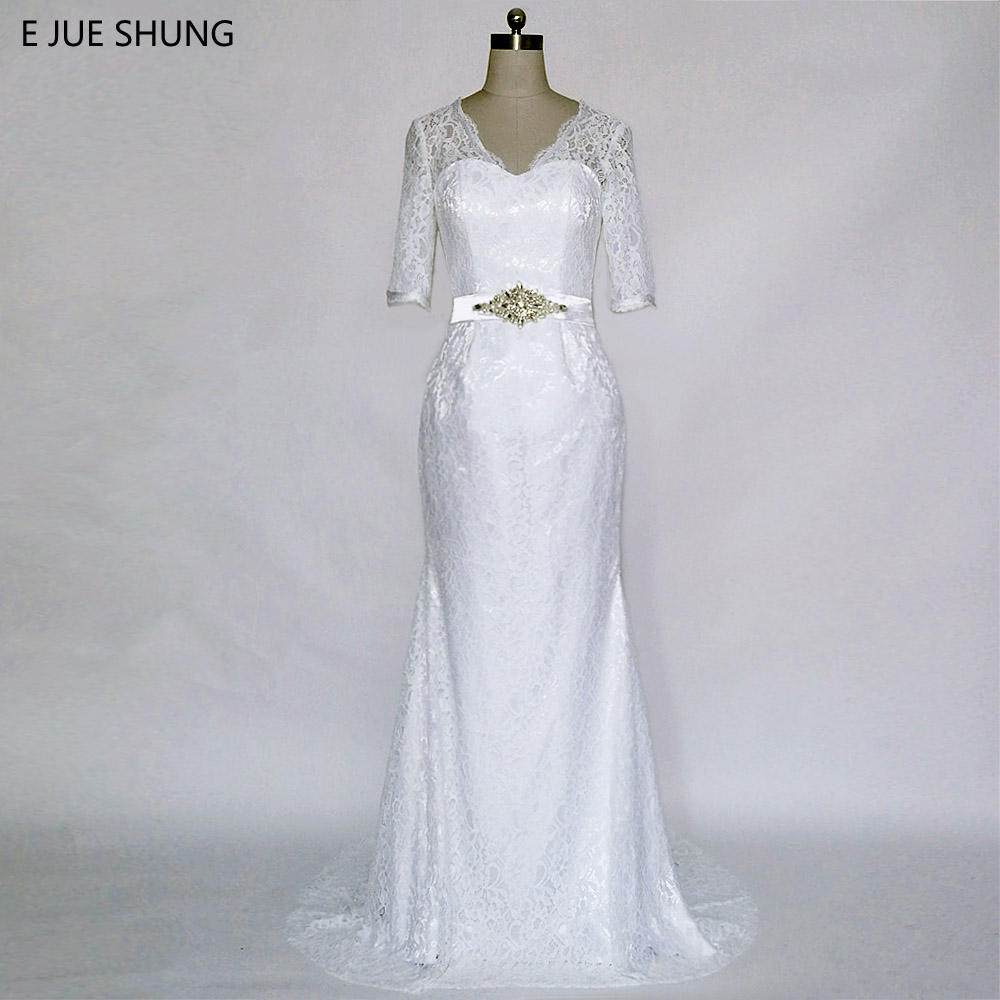 E JUE SHUNG jubah de mariage White Vintage Lace Mermaid Wedding Dresses Lace Up Half Sleeves Wedding Gowns Murah vestido noiva