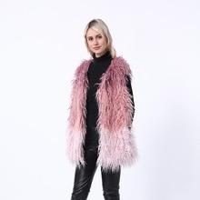 2019 Winter Imitation Fur coat female medium long fox fur grass vest furry color stitching girl