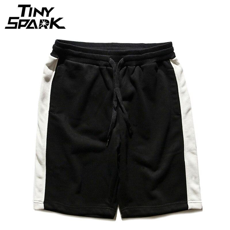 Black White Striped Shorts Hip Hip Mens Casual Jogger Short Sweatpant Elastic Red Streetwear Knee Short Cotton Harajuku New 2018