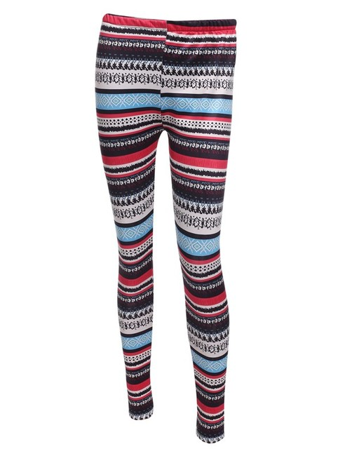 Ethnic Print Vintage Winter Leggings Women Thicken Warm Leggings High Waisted Striped Stretch Slim Skinny Legging Plus Size
