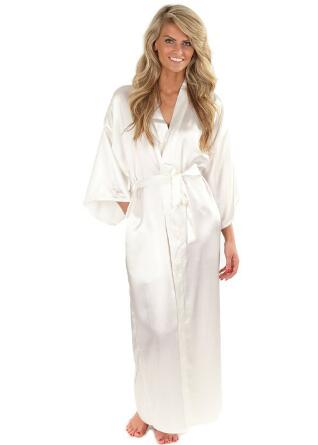 Kimono Robe Bride-Bridesmaid-Robe Peignoir Satin Wedding Women Silk Long Femme Large-Size