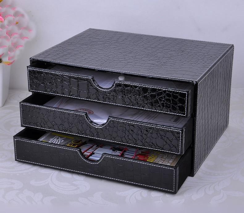 3 drawer wood struction leather desk set filing cabinet storage drawer box office organizer document container croco black217C