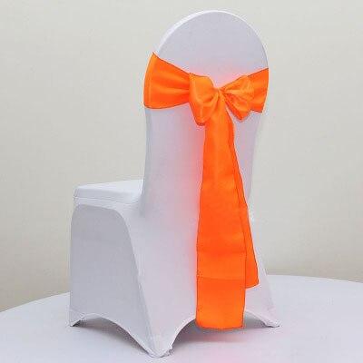 100pcs Neon Orange Cheap Self Tie Satin Chair Bow Ties Wedding Chair Cover  Satin Sashes For
