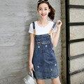 Alta Calidad Europea 2016 Verano Mono Azul de Mezclilla Falda de Las Mujeres Falda de Mezclilla de Moda Trajes Vintage Mini Skirt BL13