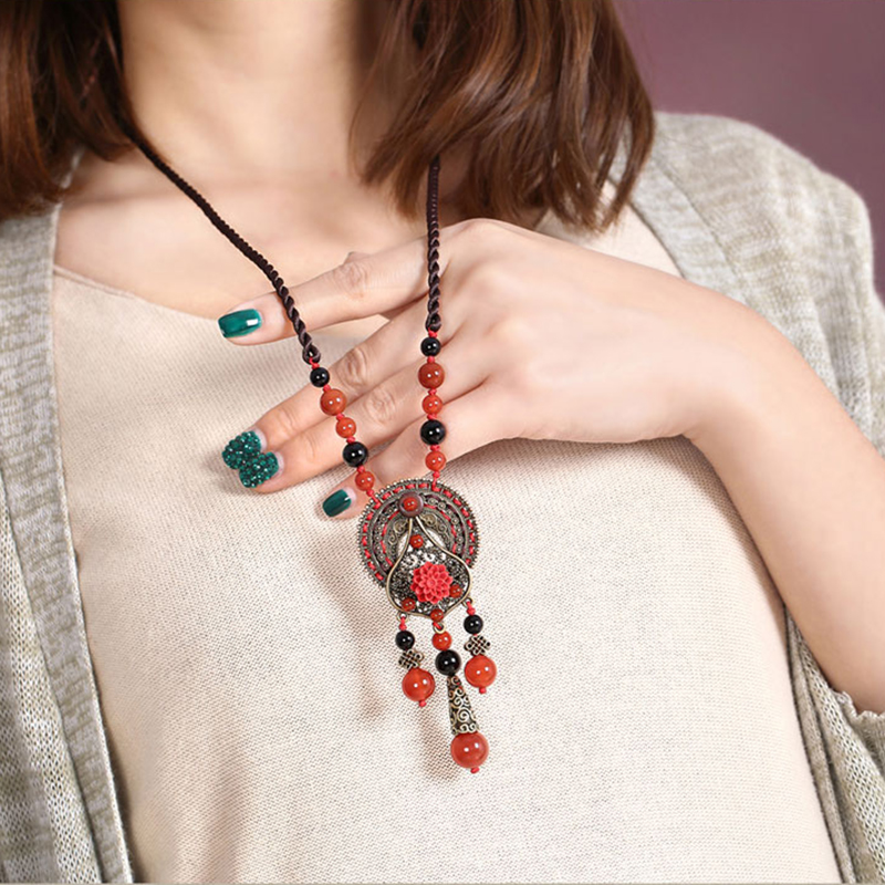 Red necklace New vintage statement necklace coral flower national trend necklace chain decoration female necklace Jewelry цены