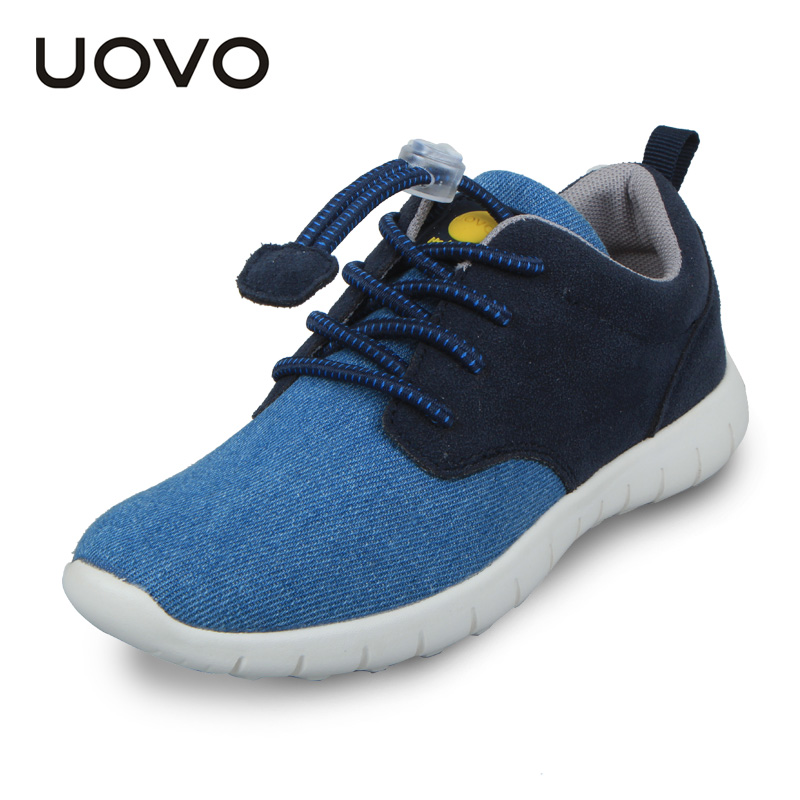 UOVO 2016 New Casual Sport Canvas Denim Elastic Lace Kids Boys Shoes Spring Footwear for Children Little Big Boys Sneakers